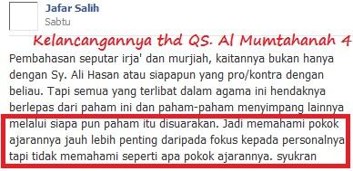 kelancangan jafar shalih thdp QS Al Mumtahanah 4