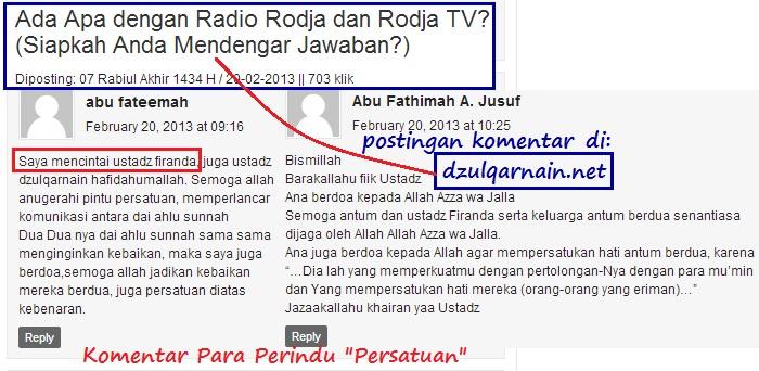 postingan komentar ada apa dengan radio dan rodja tv