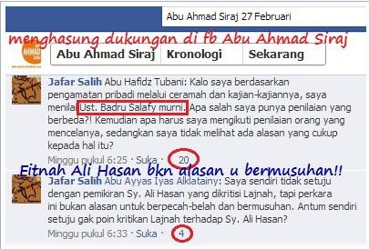 Js menghasung dukungan di fb abu ahmad siraj