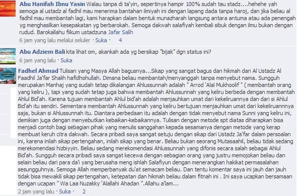 Dukungan dan sambutan fadhel ahmad
