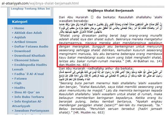 Screenshot mengilzam orang untuk mengikuti wajibnya shalat berjamaah