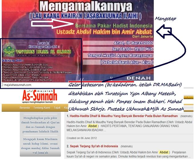 abdul hakim abdat dengan label pakar hadits yang kedodoran