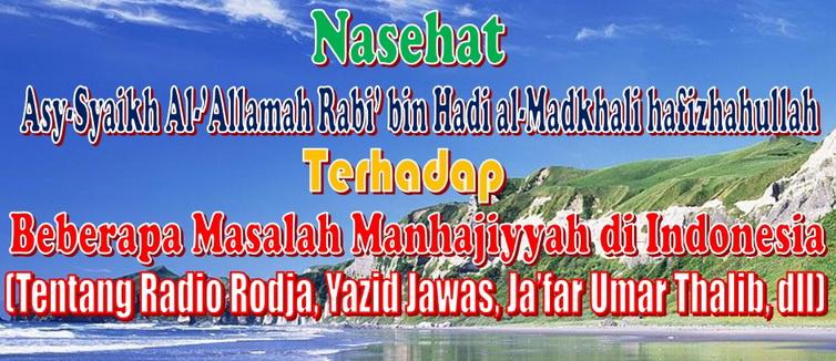 nasehat syaikh rabi tentang beberapa masalah manhajiyyah_resize