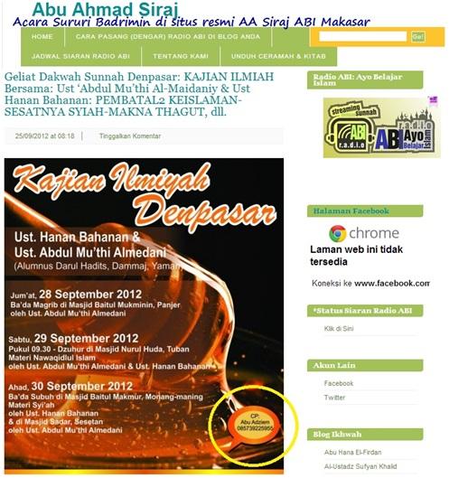 Screenshot acara Sururi Badrimin bersama HB dan AMM disebarluaskan di situs resmi Abu Ahmad Siraj