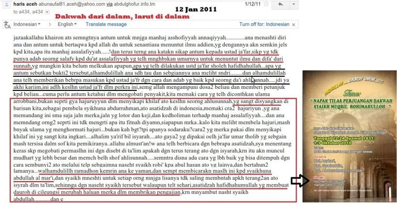 Screenshot arsip email dari Haris Aceh