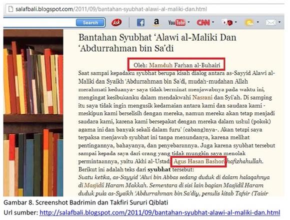 Screenshot Badrimin posting tulisan seorang Takfiri Saudi