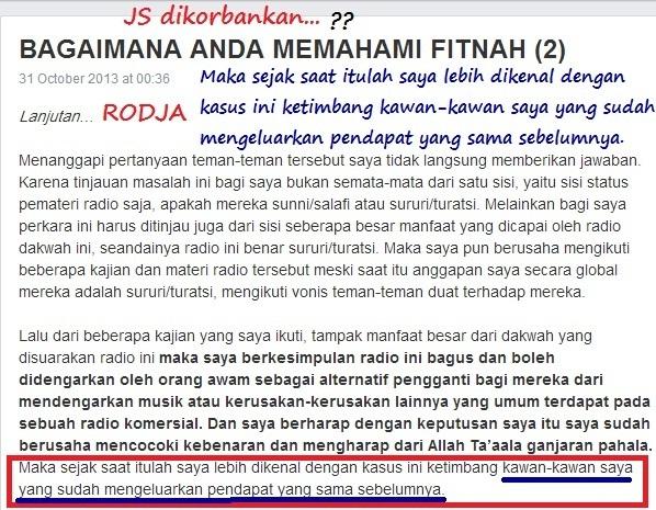 Screenshot …ternyata Jafar Salih bukanlah orang yang pertama merekomendasi Rodja