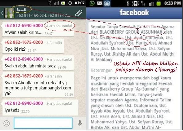 Screenshot Haris Aceh adalah jajaran ustadz di grup Blackberry As-Sunnahnya Dzulqarnain