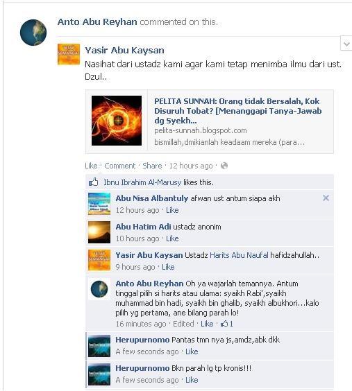 Screenshot Nasehat dari ustadz kami