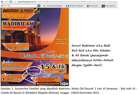 Screenshot Sululy Badrimin dalam acara Ali Basuki Lc. penerjemah telekonferensi AMDz bersama Syaikh Hani' di Masjid AMWA Depok