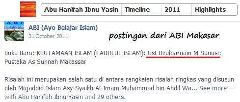Halabiyun Ibnu Yasin bersama status ABI di akun facebooknya