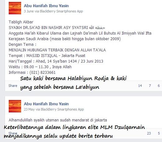 Halabiyun Ibnu Yasin dalam elite lingkaran MLM serta sebarkan acara Halabiyun Rodja secara terbuka tanpa ditutup-tutupi