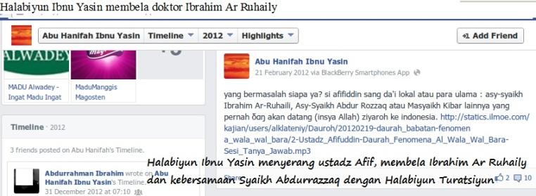 Halabiyun Ibnu Yasin membela doktor Ibrahim Ar Ruhaily