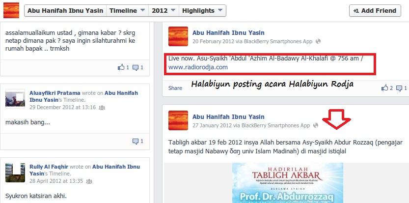 Halabiyun Ibnu Yasin memposting acara besar Halabiyun Rodja