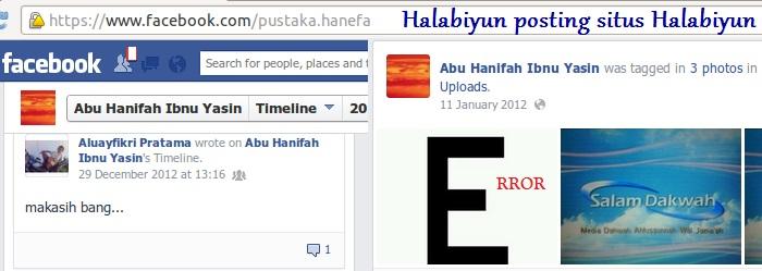 Halabiyun Ibnu Yasin memposting situs Halabiyun salam dakwah