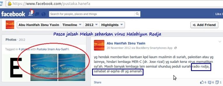 Halabiyun Ibnu Yasin sebarkan virus Rodja dengan hiasan penerbit dan situs hizbinya