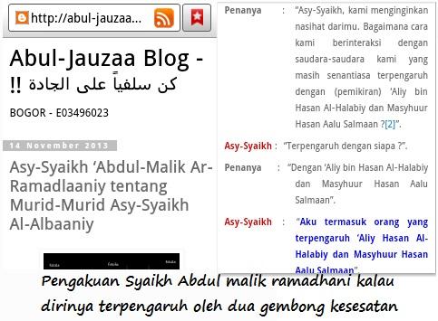 Halabiyun merilis sendiri pengakuan Ar Ramadhani kalau terpengaruh oleh Al Halaby dan Masyhur Hasan Salman