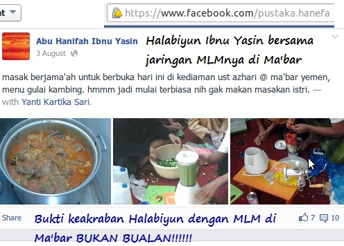 keakraban manhaj gulai kambing Halabiyun Ibnu Yasin dan jaringan MLMnya dari Ma'bar