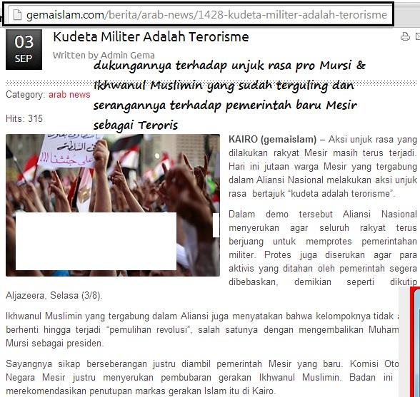 Dukungannya terhadap unjuk rasa pro Mursi & Ikhwanul Muslimin serta mencerca pemerintah baru Mesir sebagai Terorisme