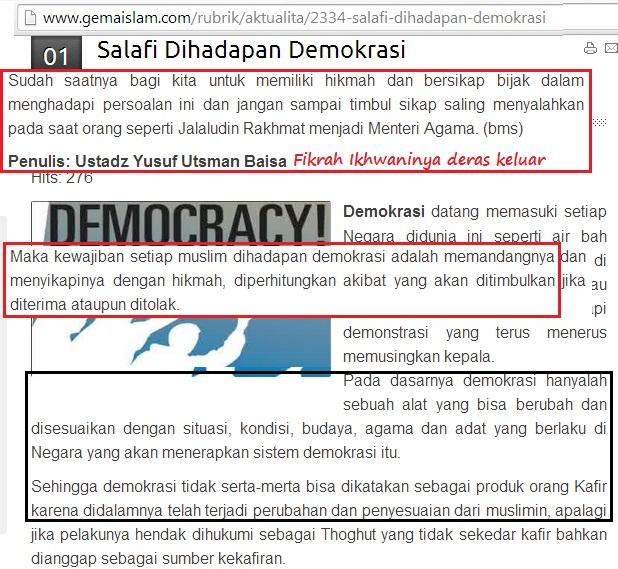 Igauannya tentang format Islamisasi Demokrasi dan tuntutannya agar Salafiyun memandang Demokrasi dengan hikmah.