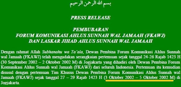 Keputusan Pembubaran Laskar Jihad merupakan hasil rapat tanggal 3-5 Oktober 2002