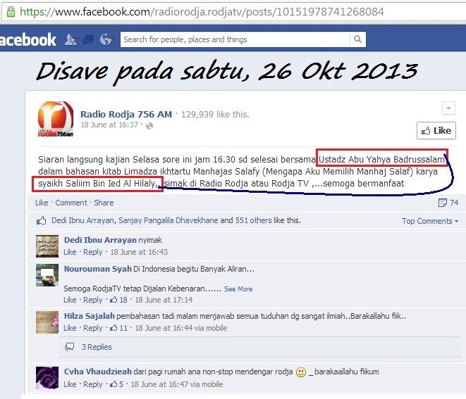 Nampak keberadaan pelakunya resmi melintang bersama facebook Rodja dan membujur bersama Badrusalam
