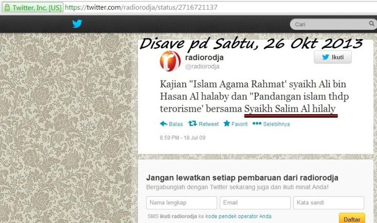 Nampak keberadaan si pelaku resmi melintang bersama tweeter Halabiyun Rodja