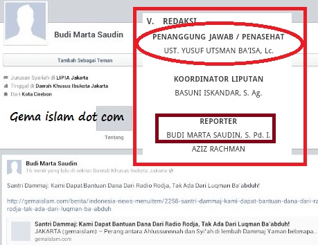 reporter gema Islam yang dikendalikan oleh Sururi Yusuf Ba isa
