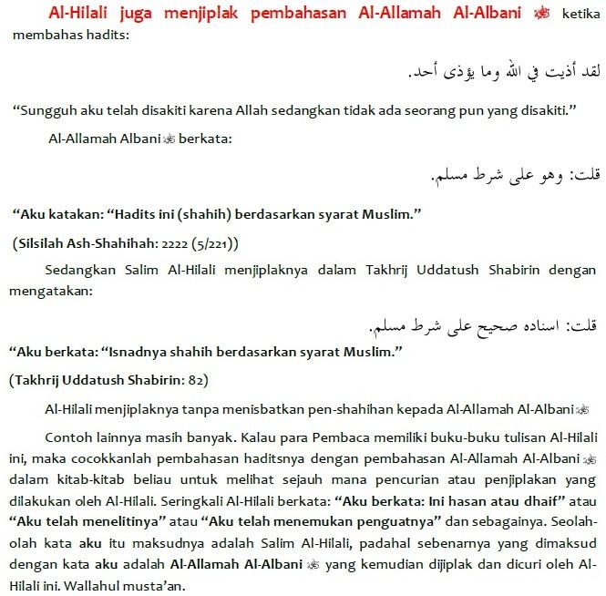 salim al hilali juga menjiplak pembahasan al allamah al albani