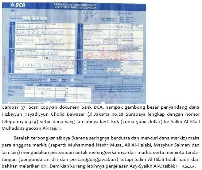 scan dokumen Permohonan Pengiriman Uang melalui BCA dengan nama SALIM EID AL HILALI AMMAN YORDANIA