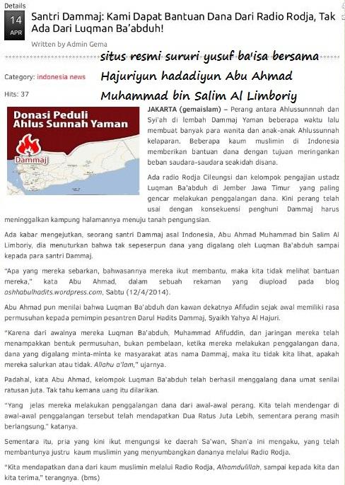 Situs Gema Islam bersama Hajuriyun Hadadiyun publikasikan dana yang digelapkan…