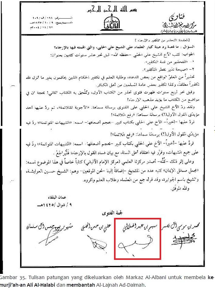 tulisan patungan markiz al albani untuk membela ali hasan