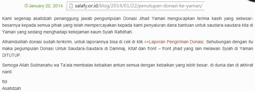 Ucapan terima kasih Donasi Jihad Yaman