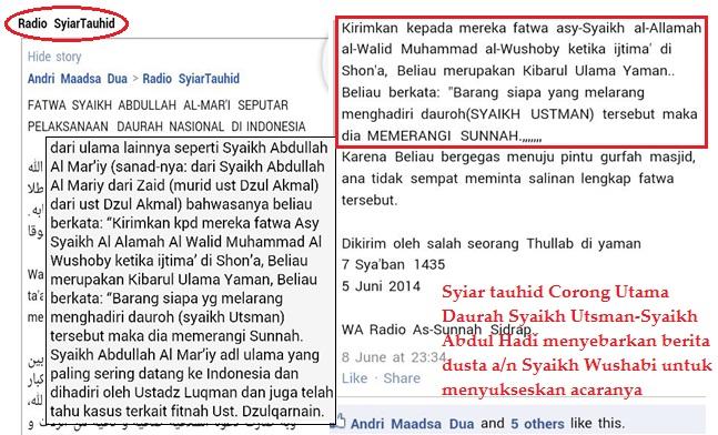 syiar tauhid sebarkan berita dusta a.n syaikh wushobi untuk sukseskan acara