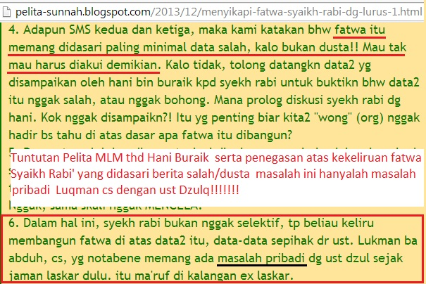 Tahdziran Asy Syaikh Rabi bernuansa masalah pribadi dan data salah