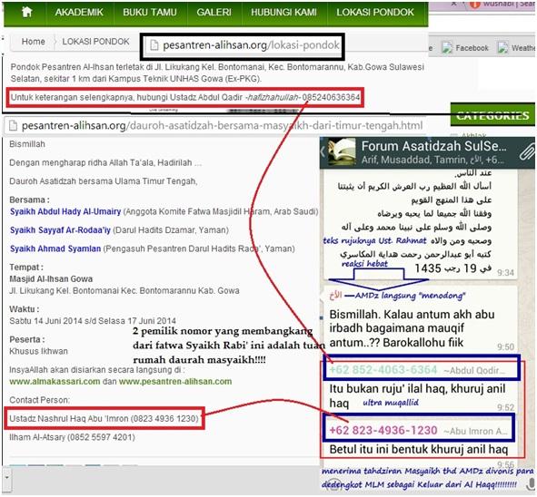 dua dedengkot MLM Pembangkang, tuan rumah Daurah Syaikh Abdul Hadi et all yang didukung penuh oleh Asy Syaikh Utsman As Salimi.