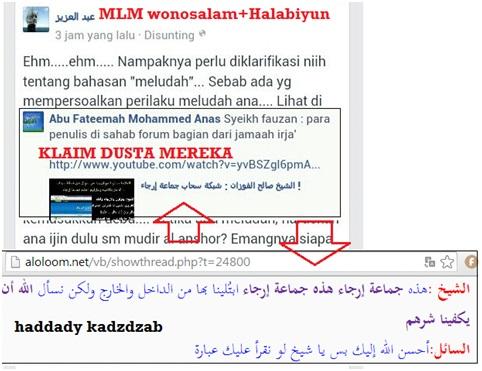 Halabiyun melempar klaim dusta atas nama Syaikh Fauzan di akun fb pentolan MLM Wonosalam