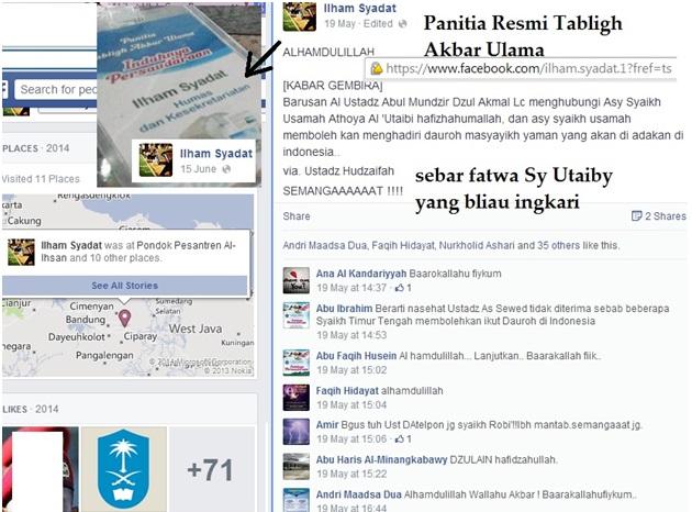 Ilham Syadat memamerkan kepada dunia foto keplek Panitia Tabligh Akbar Ulama atas namanya berikut jabatan resminya selaku Humas dan Kesekretariatan