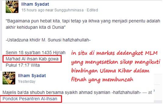 . Laporan pandangan mata kegiatan Khidir M Sunusi dan Syaikh Ahmad Syamlan langsung di tempat kejadian