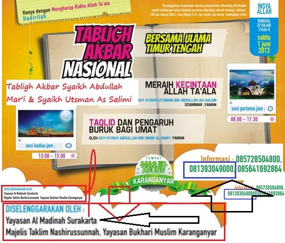 . Pamflet resmi Daurah masyaikh di Karanganyar berikut contak person resminya yang disebarluaskan ke umat