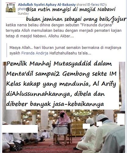 Duduknya di salah satu kursi di Masjid Nabawi bukan jaminan bahwa dirinya adalah orang yang lurus agamanya