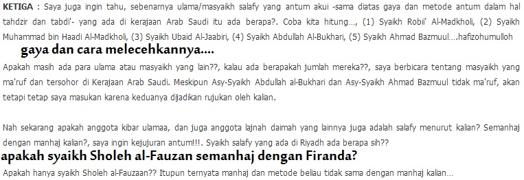 Manhaj Syaikh Rabi, Syaikh Muhammad bin Hadi dan lain-lain berbeda dengan manhaj Kibar ulama