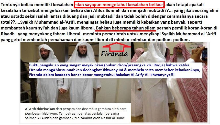 Screenshot kekerabatan manhaj Salman Al Audah – Al Arify dan Firanda