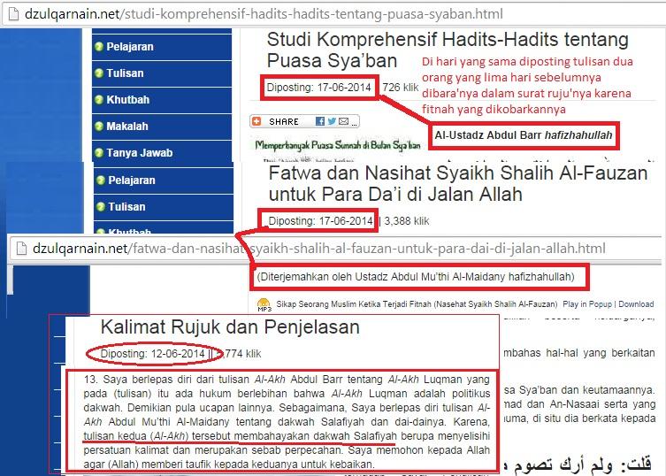 Tanggal 12 Juni di dalam surat rujuknya berlepas diri dari tulisan Abdul Barr Abdul Mu'thi Al Maidani dan perendahan Khidir As Sunusi terhadap Asy Syaikh Rabi