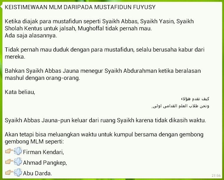 MLM lebih istimewa daripada para mustafid, masyaikh Fuyus lainnya.