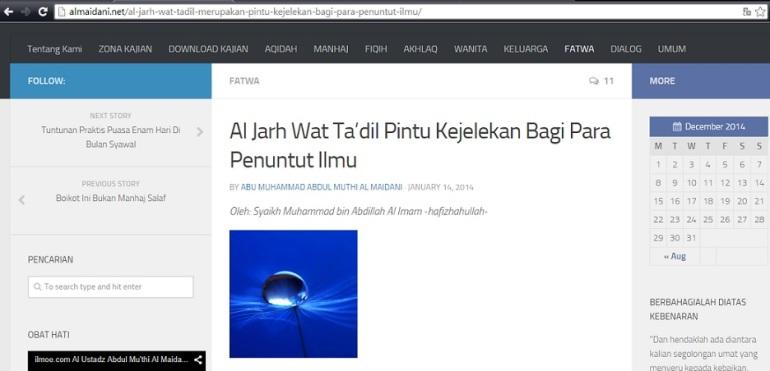 bukti abdul muthi al maidani posting disitusnya syubhat muhammad al imam