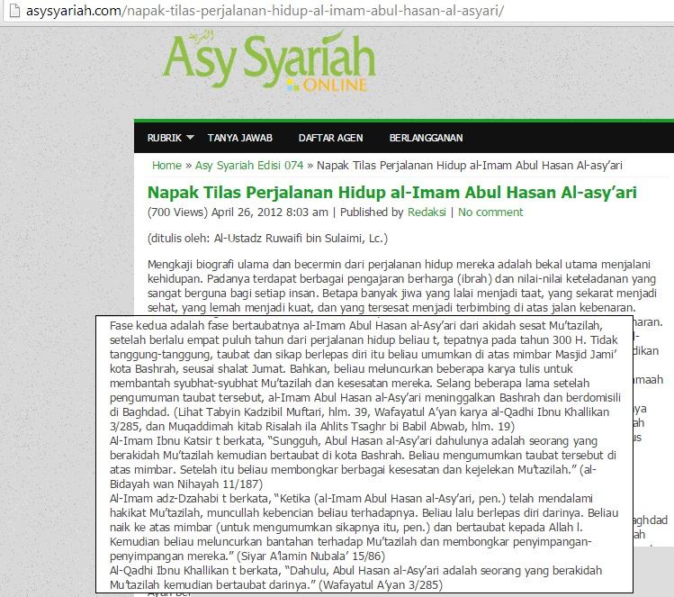 Kisah taubatnya Imam Abul Hasan Al Asy'ary