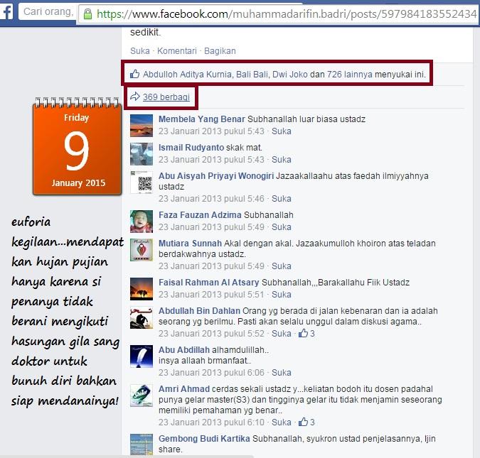 5. 726 orang menyukai status provokasi bunuhdirinya dan 369 berbagi statusnya ini.