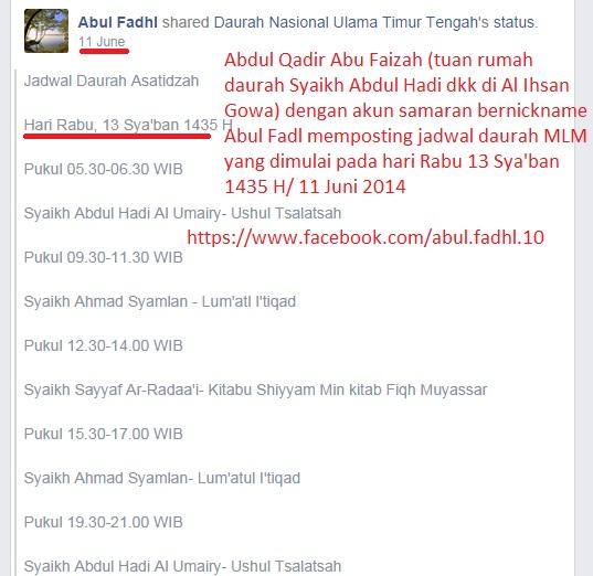 Abul Fadl mengumumkan jadwal daurah asatidzah untuk hari Rabu 13 Sya'ban 1435 H