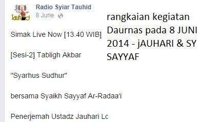 Nampak pada tanggal 8 Juni 2014 diselenggarakan tabligh akbar bersama Syaikh Sayyaf di Solo